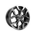 Polished chrome rim wheel on white car Royalty Free Stock Photos