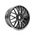Polished chrome rim wheel on white car Stock Photo
