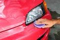 Polished and coating wax car Royalty Free Stock Photo