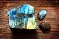 Polished labradorite crystals