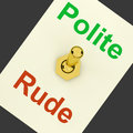 Polite rude lever shows manners and disrespect showing Royalty Free Stock Image