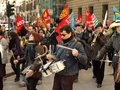 Politic manifestation by italian workers manifest on florence citycenter against governement Royalty Free Stock Photos