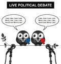 Political debate monochrome comical live with politicians spouting lies and more lies isolated on white background Royalty Free Stock Photography