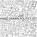 Political icons drawn by hand, vector set. Doodle on the topic of politics and elections. Royalty Free Stock Photo