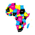 Political map of Africa continent in CMYK colors with national borders and country name labels on white background