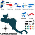 Political map of central america vector set with buttons flags on white background Royalty Free Stock Photo
