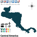 Political map of central america vector set with buttons flags on white background Stock Photography