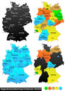Political map of germany and location versatile file every piece is selectable and editable in layers panel turn on and off Royalty Free Stock Images