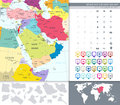 Political Map Of Middle East And Asia With A Square Flat Icon Set