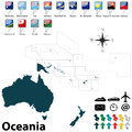 Political map of oceania vector set with buttons flags on white background Stock Photography