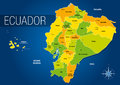Political map of the Republic of Ecuador with the names of the provinces and their capitals on blue background