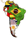 Political map of south america Stock Images