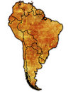 Political map of south america Royalty Free Stock Photography