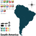 Political map of south america vector set with buttons flags on white background Royalty Free Stock Images
