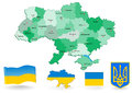 Political map of ukraine administrative divisions vector flag and coat arms Stock Photography