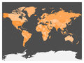 Political map of world with Antarctica. Countries in four shades of orange without borders on dark grey background