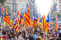 Political rally in barcelona spain september up to a million people converge on to join a demanding independence for catalonia on Royalty Free Stock Photo