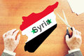 Political and war crisis in syria abstract conceptual image Stock Images