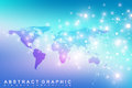 Political World Map with global technology networking concept. Digital data visualization. Lines plexus. Big Data