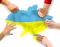 Politicians separatists radicals tearing map of the ukraine and country on piece referendum and elections Stock Photo