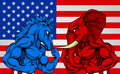 Politics American Election Concept Donkey vs Elephant Royalty Free Stock Photo