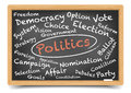 Politics blackboard detailed illustration of a wordcloud on a Royalty Free Stock Image