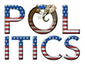 Politics digital and photo illustration of the word with stars and stripes as well as a donkey and elephant head to represent Royalty Free Stock Photos