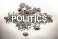 Politics word in ash, dirt, filth, dust as bad government, rule, economy or dangerous society system or corruption and democracy Royalty Free Stock Photo