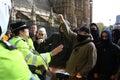 Polizia e demonstators, Londra il 1° maggio Immagine Stock Libera da Diritti