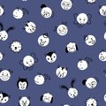 Polka dot animals seamless vector background. Cute kids pattern white circles with animal faces on blue. Simple doodle Royalty Free Stock Photo