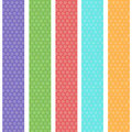 Polka dot background seamless pattern with green orange pink lilac blue stripes. Vector Royalty Free Stock Photo