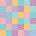 Polka dot background seamless pattern with orange pink lilac blue square. Vector Royalty Free Stock Photo