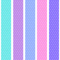 Polka dot background seamless pattern with pink lilac blue stripes. Vector Royalty Free Stock Photo