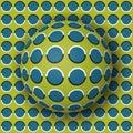 Polka dot ball rolling along the polka dot surface. Abstract vector optical illusion illustration
