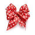Polka dot bow red ribbon isolated on white background clipping path included Stock Image