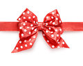 Polka dot bow red ribbon isolated on white background clipping path included Stock Photography