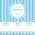 Polka dot design elements seamless strips pattern and border and round label Stock Photo