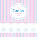Polka dot design elements seamless strips pattern and border and round label Royalty Free Stock Photos