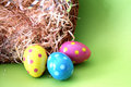 Polka dot Easter eggs lying in straw Royalty Free Stock Photography