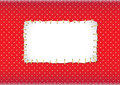 Polka dot frame with stitched patch Royalty Free Stock Photos