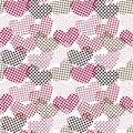 Polka dot hearts seamless pattern with dots background in pink shades Stock Image