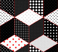 Polka dot patchwork on imitation of cubes surfaces