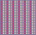Polka dot red pattern with hearts. Vector
