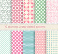 Polka dot vector seamless pattern. vintage dotted shabby chick backgrounds collection. Royalty Free Stock Photo