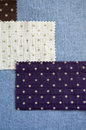 Polka dots on white and blue fabric Royalty Free Stock Photo