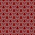 Polka rouge et blanche dot hearts pattern repeat background Photos stock