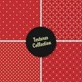 Polka strutturata rossa classica dot seamless different patterns Fotografie Stock Libere da Diritti