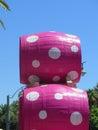 Polkadot barrels stack of coloured at malaga feria spain Stock Image