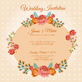 Polkadot floral invitation or card in and theme eps file with no gradient meshes blends opacity stroke path brushes also all Stock Photography