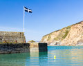 Polkerris cornwall harbour and beach at england uk Stock Images